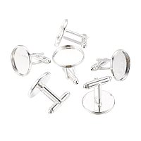 NBEADS 200 Pcs Brass Cuff Settings, Cufflink Findings for Apparel Accessories, Silver, Tray: 18mm; 18.5x20mm