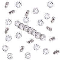 NBEADS 200pcs 5mm Silver Rhinestone Beads Crystal Straight Flange Metal Spacer Beads for Jewelry Making
