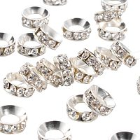 Pandahall Elite 100pcs 13mm Crystal Rhinestone Spacer Beads Silver Plated Brass Rondelle Spacer Beads for Jewelry Making