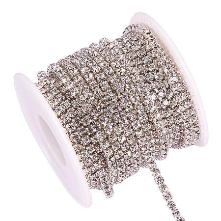 BENECREAT 10 Yard 3mm Crystal Rhinestone Close Chain Clear Trimming Claw Chain Sewing Craft About 2330pcs Rhinestones - Crystal (Silver Bottom)