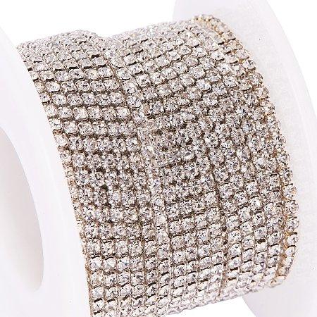 BENECREAT 10 Yard 2mm Crystal Rhinestone Close Chain Clear Trimming Claw Chain Sewing Craft About 2880pcs Rhinestones - Crystal (Silver Bottom)