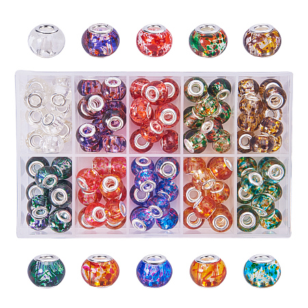 PandaHall Elite 100PCS 15x12mm Spray Painted Glass European Beads with Silver Brass Cores Large Hole Beads, Mixed Color, Hole: 5mm