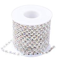 NBEADS 1 Roll of 4mm Clear Rhinestone Diamante Crystal AB Color Chain 10 Yard Length for Wedding Supplies DIY Sewing Craft Jewelry Making Party Decorations