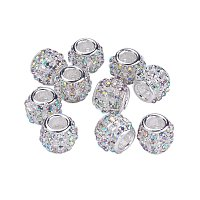 NBEADS 5 Pcs Crystal AB Color Alloy Rhinestone European Beads, Silver Tone Large Hole Rondelle Beads fit Bracelet Jewelry Making