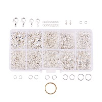 PandaHall Elite 1Box About 1585 Pcs Jewelry Making Findings Kits with Lobster Claw Clasps Twist Chain Links Drop Ends 22 Gauge Open Jump Rings 4~10mm and Jump Ring Open Tool Silver