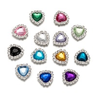 ARRICRAFT Acrylic Rhinestone Cabochons, with Brass Rhinestone Findings, Faceted, Heart, Silver Color Plated, Mixed Color, 16x15.5x4mm