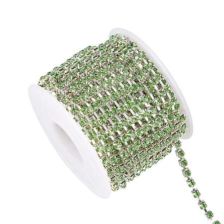 BENECREAT 10 Yard Crystal Rhinestone Close Chain Clear Trimming Claw Chain Sewing Craft About 1440pcs Rhinestones, 3mm - Green(Silver Bottom)
