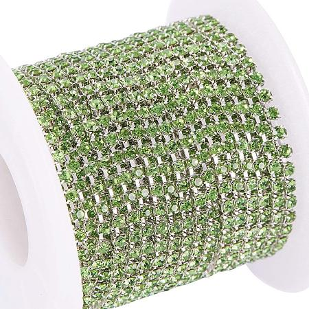 BENECREAT 10 Yard Crystal Rhinestone Close Chain Clear Trimming Claw Chain Sewing Craft about 2880pcs Rhinestones, 2mm - Green (Silver Bottom)