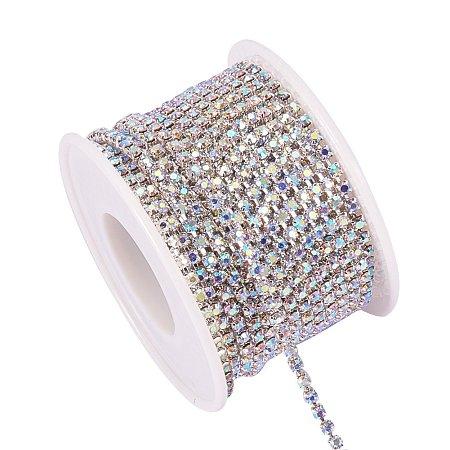 BENECREAT 10 Yard 2.6mm Crystal Rhinestone Close Chain Clear Trimming Claw Chain Sewing Craft About 2740pcs Rhinestones - Crystal AB (Silver Bottom)