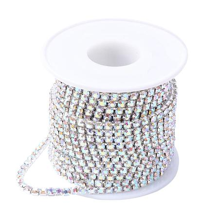 NBEADS 1 Roll 10 Yards 2.8mm Silver Crystal AB Color Rhinestone Close Chain Trimming Claw Chain Jewelry Crafts DIY
