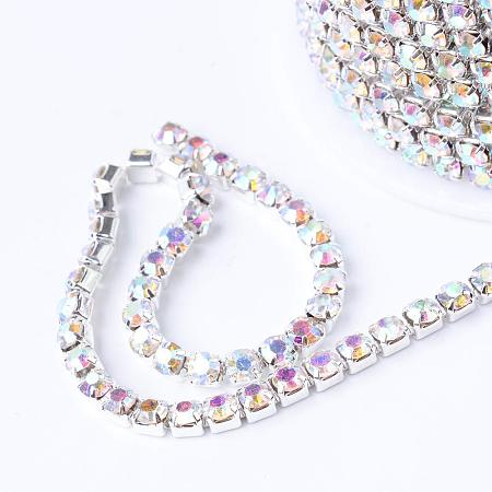 ARRICRAFT 1 Roll 10 Yard 3mm Crystal AB Rhinestone Close Chain Clear Trimming Claw Chain Silver Cup Bead Chain Craft and Decoration Chains for Jewelry, Veil, Vase, Cake, Sewing, Clothing