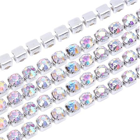 NBEADS 1 Bundle 2mm Silver Plated Crystal AB Color Rhinestone Cup Chain Trimming Jewelry Sew Glue On Diamante, About 10Yards/Bundle