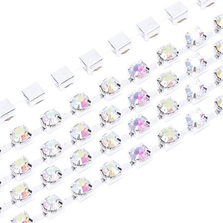 NBEADS 1 Bundle 10 Yards Crystal AB Color Rhinestone Cup Chains 2.3~2.4mm Sewing Crafts