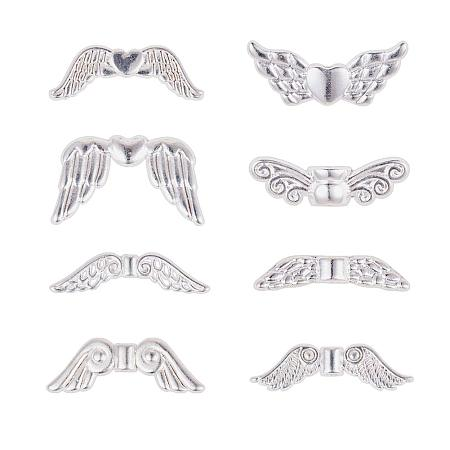 PandaHall Elite 160 pcs 8 Styles Wing Shape Tibetan Style Alloy Beads Charm Spacer Beads for Bracelet Necklace Jewelry DIY Craft Making, Silver