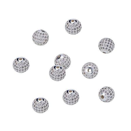 NBEADS 10pcs 10mm Brass Clear Gemstones Cubic Zirconia CZ Stones Pave Micro Setting Disco Ball Spacer Beads, Round Bracelet Connector Charms Beads for Jewelry Making