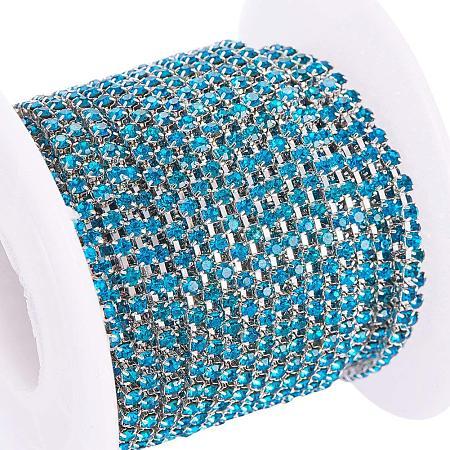 BENECREAT 10 Yard Crystal Rhinestone Close Chain Clear Trimming Claw Chain Sewing Craft about 2880pcs Rhinestones, 2mm - Blue (Silver Bottom)