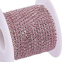 BENECREAT 10 Yard Crystal Rhinestone Close Chain Clear Trimming Claw Chain Sewing Craft about 2880pcs Rhinestones, 2mm - Light Rose (Silver Bottom)