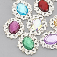 ARRICRAFT Alloy Acrylic Rhinestone Cabochons, with Rhinestone, Faceted, Oval, Silver Color Plated, Mixed Color, 31x27x5mm