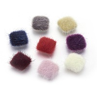 Faux Mink Fur Covered Cabochons, with Silver Color Plated Alloy Findings, Square, Mixed Color, 13x13x5mm
