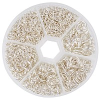PandaHall Elite 1 Box Silver Iron Plated Jump Rings Diameter 4mm to 10mm Jewelry Connectors Chain Links, about 1745pcs/box