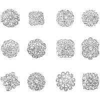 Arricraft 12 pcs Clear Rhinestone Crystal Flower Brooches Pins for Wedding Party Bouquet Broaches Kit Women Dress Decorations, Silver