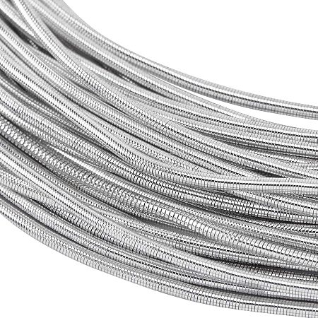 BENECREAT 1mm French Bullion Wire Spiral Copper Wire with Storage Box for Embroidery Beading and Clothes Decoration, LightGrey