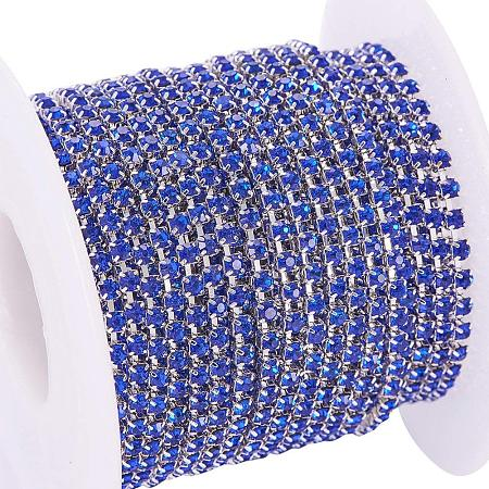 BENECREAT 10 Yard Crystal Rhinestone Close Chain Clear Trimming Claw Chain Sewing Craft about 2880pcs Rhinestones, 2mm - Sapphire (Silver Bottom)