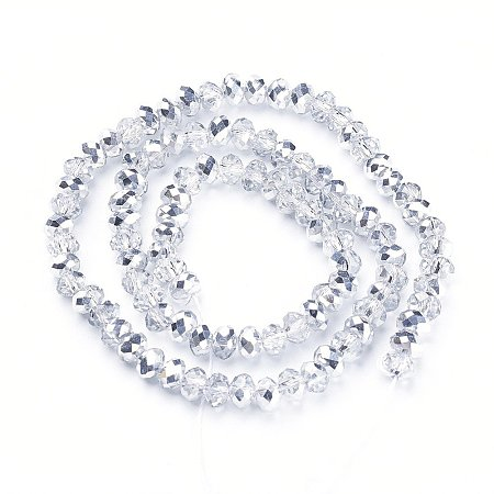 NBEADS 10 Strands Half Silver Plated Faceted Abacus Clear Electroplate Glass Bead Strands With 6x4mm,Hole: 1mm,About 100pcs/strand