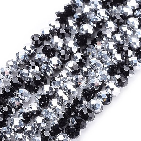NBEADS 10 Strands Half Silver Plated Faceted Abacus Black Electroplate Glass Beads Strands With 6x4mm,Hole: 1mm,About 100pcs/strand