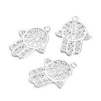ARRICRAFT 10PCS Silver Palm Brass Pendants Charms Bracelet Jewelry Making, 28x21x1.5mm