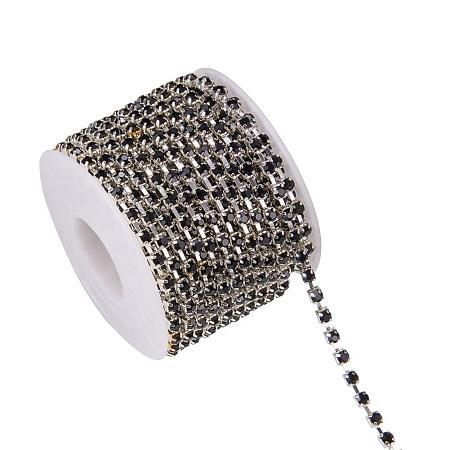 BENECREAT 10 Yard Crystal Rhinestone Close Chain Clear Trimming Claw Chain Sewing Craft About 1440pcs Rhinestones, 3mm - Black(Silver Bottom)