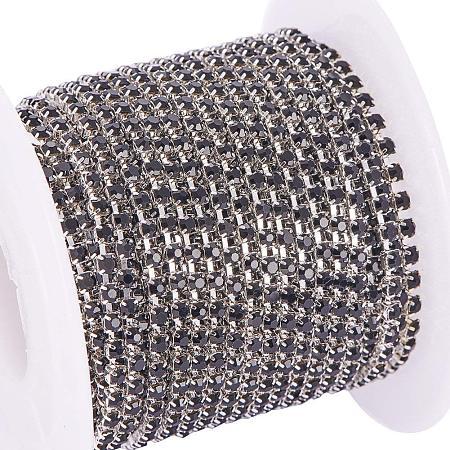 BENECREAT 10 Yard Crystal Rhinestone Close Chain Clear Trimming Claw Chain Sewing Craft about 2880pcs Rhinestones, 2mm - Black (Silver Bottom)
