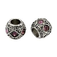 NBEADS 5pcs Antique Silver Plated Alloy Rhinestone European Beads, Large Hole Rondelle Beads, Light Rose, 10x8mm, Hole: 5mm