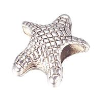 NBEADS 100PCS Alloy Starfish European Beads Large Hole Beads for Jewellery Making, Antique Silver, 14x12.5x7mm, Hole: 5mm