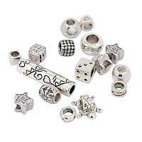 NBEADS 500 g Tibetan Style European Beads, Large Hole Beads, Mixed Shape, Mixed Style, Antique Silver, 6~13x8~14x6~12mm, Hole: 4~9mm