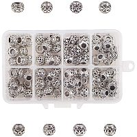 NBEADS 80 Pcs Tibetan Style Alloy European Large Hole Spacer Beads, 8 Types of Rondelle Metal Spacer Bead Charms Large Hole Loose Connector Beads for Bracelet Necklace Jewelry Making, Antique Silver