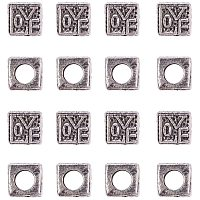 NBEADS 1 Box About 30 Pcs Alloy European Beads with 5mm Hole, Cube with Word Love Metal Spacer Bead Charms Large Hole Loose Connector Beads for Bracelet Necklace Jewelry Making, Antique Silver
