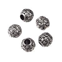 NBEADS 5 Pcs Antique Silver 304 Stainless Steel European Beads Rondell with Skull Large Hole Beads for Jewelry Making