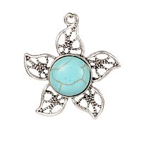 NBEADS 10 Pcs Flower Alloy Synthetic Turquoise Pendants, Antique Silver, 31x29x6mm, Hole: 2mm
