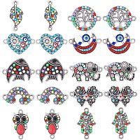 NBEADS 30 Pcs Alloy Links Connectors, Colorful Evil Eye Charm Jewelry Connector Findings with Resin and Rhinestone for DIY Crafts Making