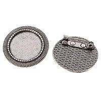 ARRICRAFT 100pcs Flat Round Tray Antique Silver Vintage Alloy Brooch Cabochon Bezel Settings with Iron Pin Back Bar Findings