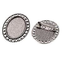 ARRICRAFT 100pcs Antique Silver Oval Tray Vintage Alloy Brooch Cabochon Bezel Settings with Iron Pin Back Bar Findings