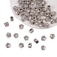 PandaHall Elite 60pcs Antique Silver Pet Dog Puppy Paw Prints Metal Beads Fit Charm Necklace Bracelet (11x10.6mm, Hole: 4.8mm)
