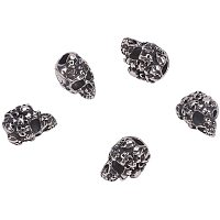 Pandahall Elite 10pcs 4mm Stainless Steel Skull Spacer Beads Metal Large Hole Beads Antique Silver European Beads Charms Findings for Necklace Bracelets Earrings Jewelry Making 15.5x11x11.5mm