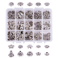 PandaHall Elite About 300 Pcs Tibetan Style Alloy Flower Bead Caps 15 Styles Jewelry Making Antique Silver