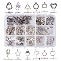 PandaHall Elite 96 Sets 12 Style Tibetan Style Alloy Antique Silver Toggle TBar Clasps Findings Jewelry Making (Flower, Butterfly, Leaf, Drop, Heart, Donut, Triangle)