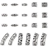 NBEADS 90 Pcs Tibetan Style Alloy Beads, 9 Kinds of Loose Braiding Hair Beads Metal Dreadlocks Tube Column Round Rondelle Beads for African DIY Hair Braiding Ponytail Decoration, Antique Silver