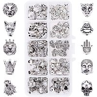 PandaHall Elite 10 Style Animal Jewelry Spacer Beads, 100pcs Lion Crown Skull Leopard Wolf Buddha Head Metal Beads Charms for Earring Bracelet Necklace Making
