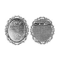 Arricraft 10pcs Antique Silver Oval Alloy Tray Vintage Brooch Cabochon Bezel Settings with Iron Pin Back Bar Findings for Women Brooch Making