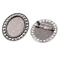ARRICRAFT 10pcs Antique Silver Oval Tray Vintage Alloy Brooch Cabochon Bezel Settings with Iron Pin Back Bar Findings